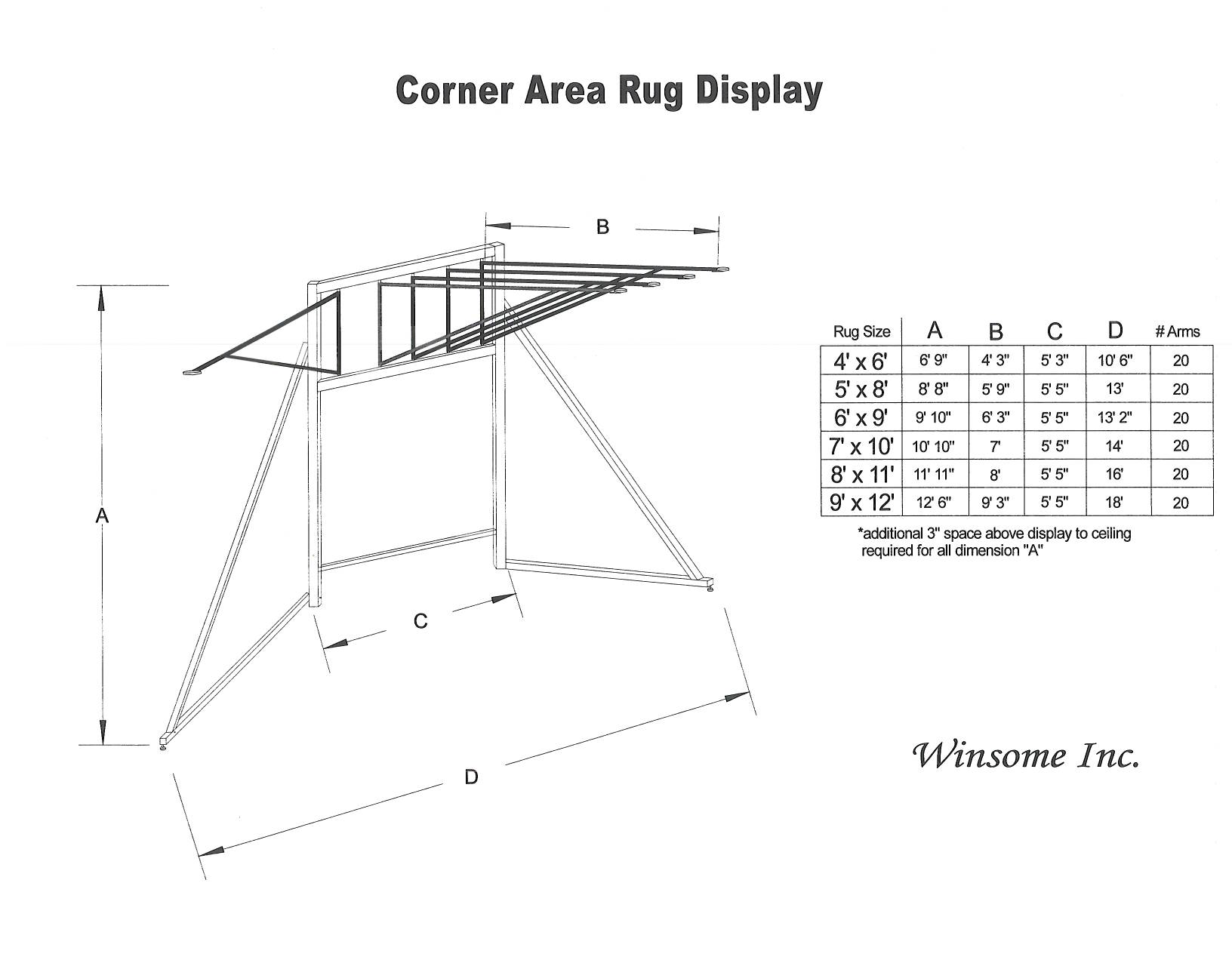Traditional Rug Display. Ideal For Showroom Corners. Displays One Size Of  Rug.